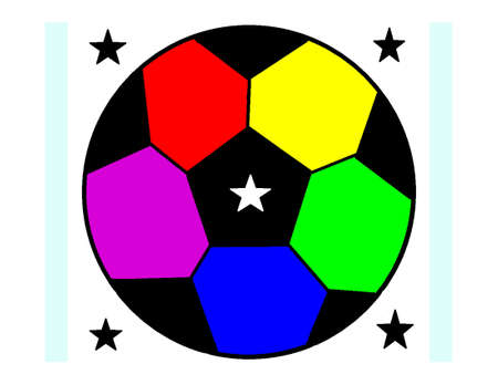 Pattern with a soccer ball and stars in a rainbow colors