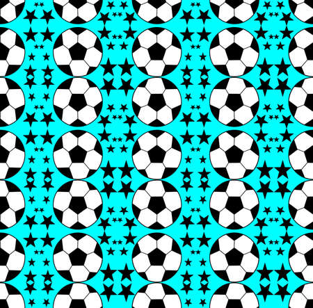 Seamless pattern with a soccer ball and stars in a bright rainbow colors.