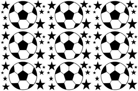 Seamless pattern with a soccer ball and stars in a black - white colors.