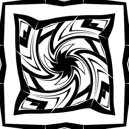 Geometric decorative pattern with spiral in a black - white colors Stock Photo