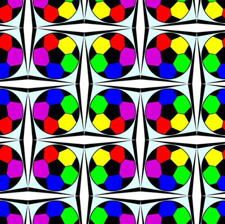 Seamless pattern with a soccer ball in a bright rainbow colors. Stock Photo