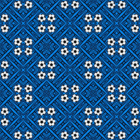 Seamless pattern with a soccer ball in a blue colors.