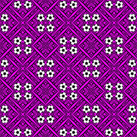 Seamless pattern with a soccer ball in a purple colors. Stock Photo