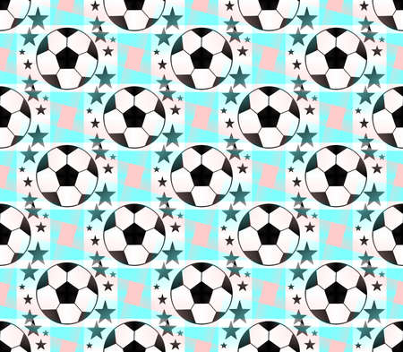 Seamless pattern with a soccer ball and stars in a bright translucent colors.