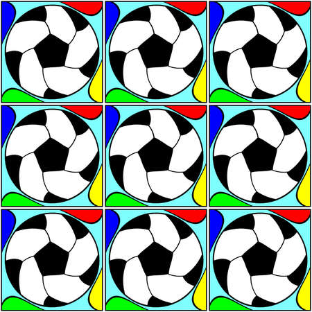 Seamless pattern with a soccer ball in a bright colors. Stock Photo