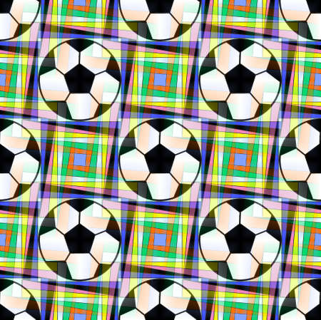Seamless pattern with a soccer ball in a bright translucent colors. Stock Photo