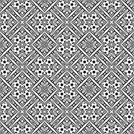 Seamless pattern with a soccer ball in a black - white colors. Stock Photo