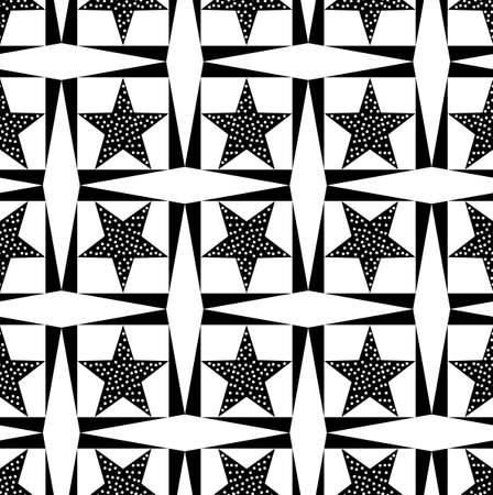 Seamless decorative pattern with a five-pointed stars in a black-white color
