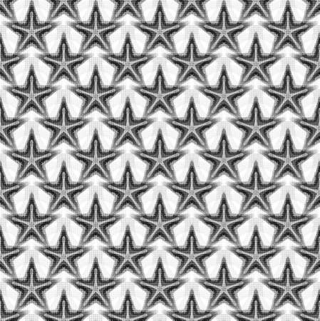 Seamless pattern with starfish in gray translucent colors