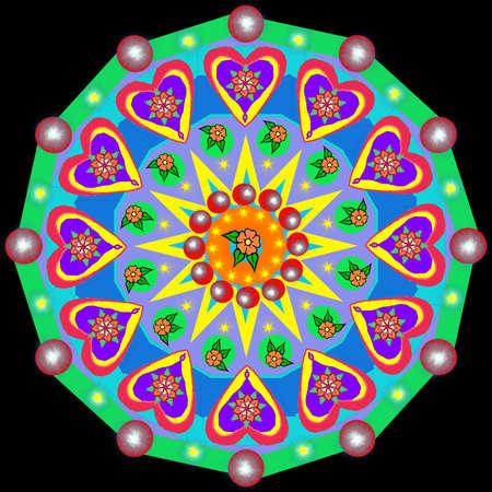 Decorative mandala with a hearts The Author - Peshkareva Irina 版權商用圖片