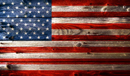 Grunge american flag with wooden texture photo