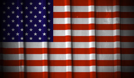 Grunge american flag background painted on the metal fence photo