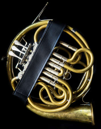 nickle: Golden french horn without a bell and mouthpiece  in the horn case Stock Photo