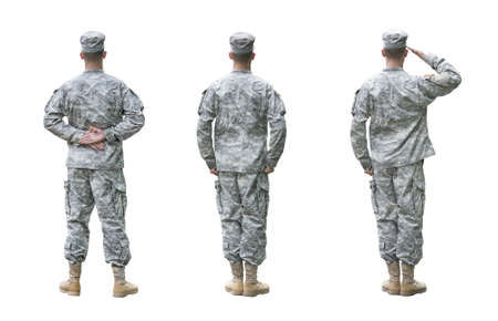 US Army soldier in three positions; Parade rest, Attention, Saluting. Back view, isolated on white background Standard-Bild