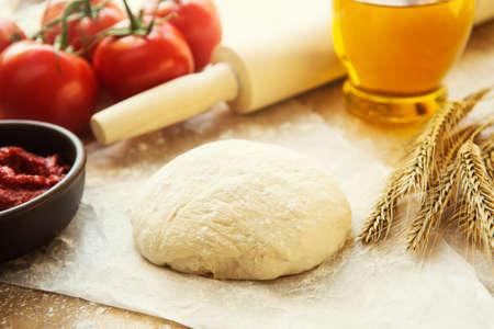 pin board: Pizza dough still life Stock Photo