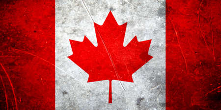 canadian flag: Grunge canadian flag with scratched stone texture