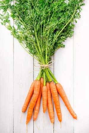 Fresh young carrots with green tops on a white rustic wooden table