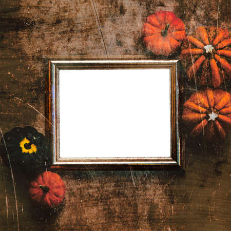 Grungy textured halloween frame with five pumpkins photo