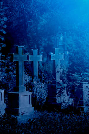 Mystery old graveyard with a group of tombstones 免版税图像