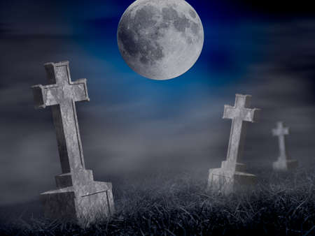 Mystery old graveyard with a group of cross tombstones at midnight  Halloween collage photo