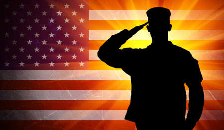 Proud saluting male army soldier on grungy american flag background Stock Photo
