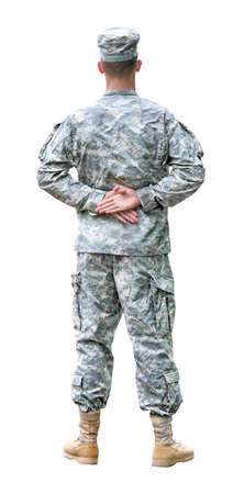 US Army soldier in Parade rest position. Back view, isolated on white background