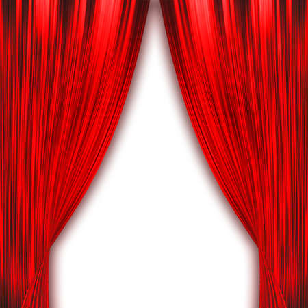 theatrical performance: Two red curtains opening isolated on white