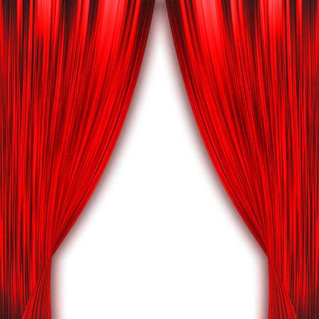 Zwei rote Vorhänge Öffnung isoliert auf weiß Standard-Bild