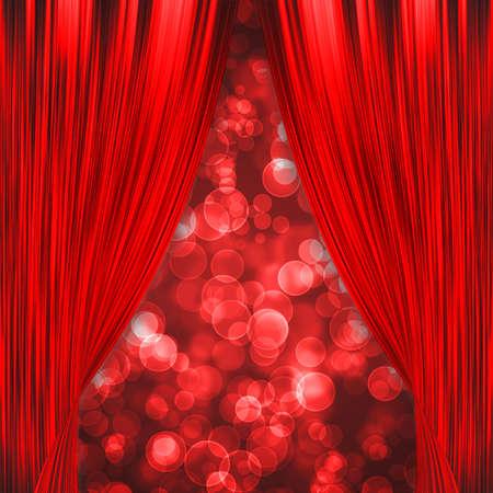 Deux rideaux rouges d'ouverture avec le bokeh rouge incandescent Banque d'images - 23696629