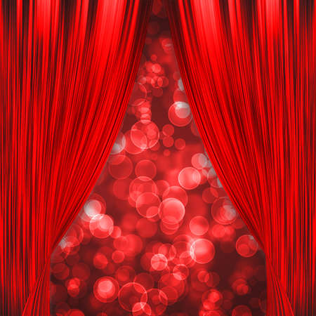 Two red curtains opening with glowing red bokeh photo