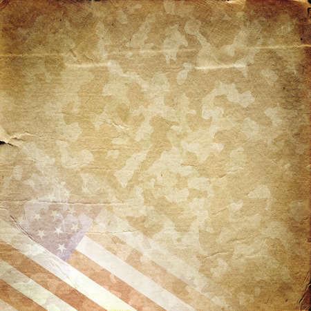Grunge militaire achtergrond. Amerikaanse vlag over woestijn camouflage patroon