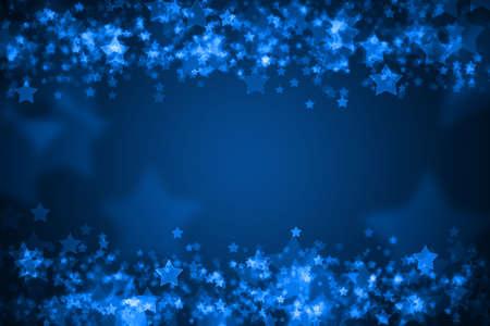 Blue glowing bokeh holiday background Foto de archivo