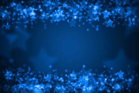 xmas background: Blue glowing bokeh holiday background Stock Photo