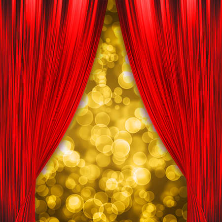red velvet: Two red curtains opening with glowing golden bokeh Stock Photo