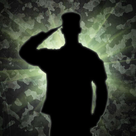 army uniform: Saluting soldiers silhouette on a green army camouflage background Stock Photo
