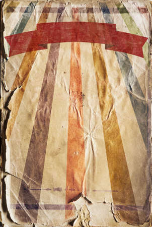 Vertical retro revival sunbeam poster background with a ribbon in colour photo