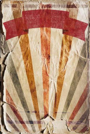 Vertical retro revival sunbeam poster background in colour photo
