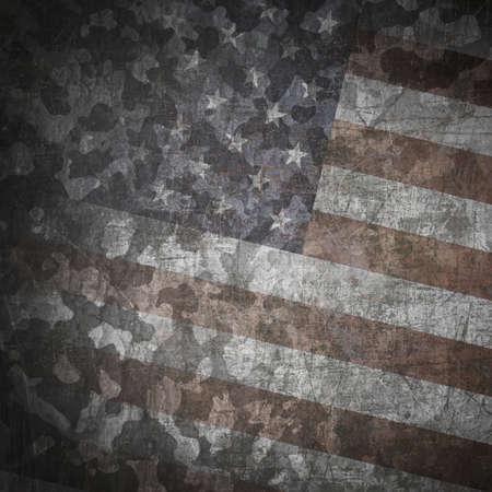 グランジの軍事背景。アメリカの国旗、傷の上の迷彩パターン