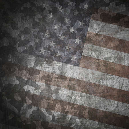 Grunge military background. Camouflage pattern over american flag, scratched photo