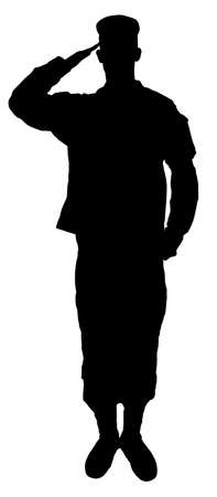 Saluting army soldier's  silhouette isolated on white