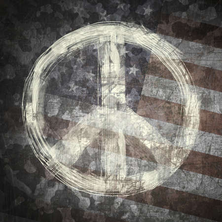 Stop the war (peace concept) peace sign on military background photo