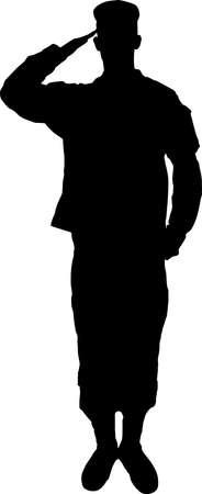 Het groeten van leger soldaat silhouet Stock Illustratie