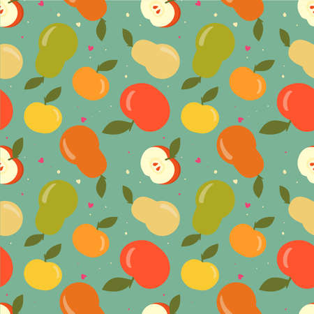 Seamless apple and pear pattern