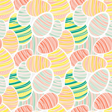 Seamless easter pattern with decorated peach egg stickers Vector