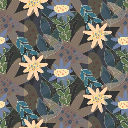 Seamless floral pattern in dark tones Иллюстрация