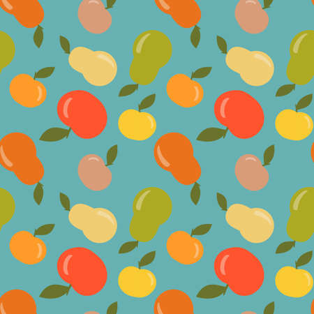 illustration:  Seamless apple and pear pattern