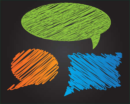 Three colorful doodle style speech bubbles on dark