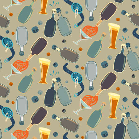 Seamless alcohol bottles pattern on sand colored Vector