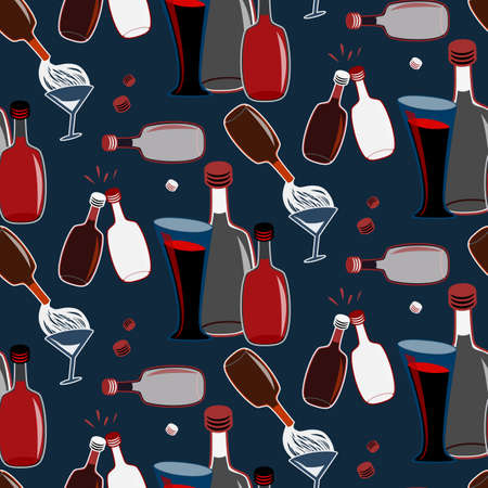 Seamless alcohol bottles pattern on blue