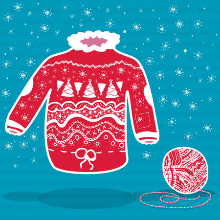Red knitted christmas sweater and a ball of yarn on blue Vector